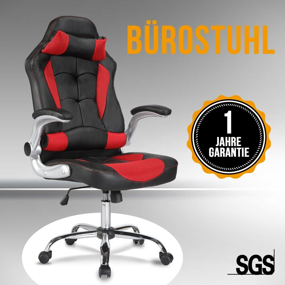 modern gaming stuhl racing leder b rostuhl chefsessel schreibtischstuhl rot ebay. Black Bedroom Furniture Sets. Home Design Ideas