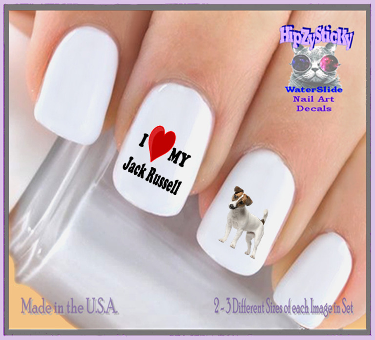 RTG Set#137b DOG BREED Love my Jack Russell WaterSlide Decals Nail ...