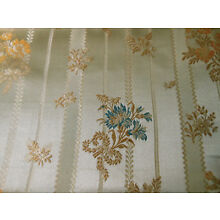 Antique Vintage French Lisere Floral Silk Brocade Fabric ~ Gray Blue Gold
