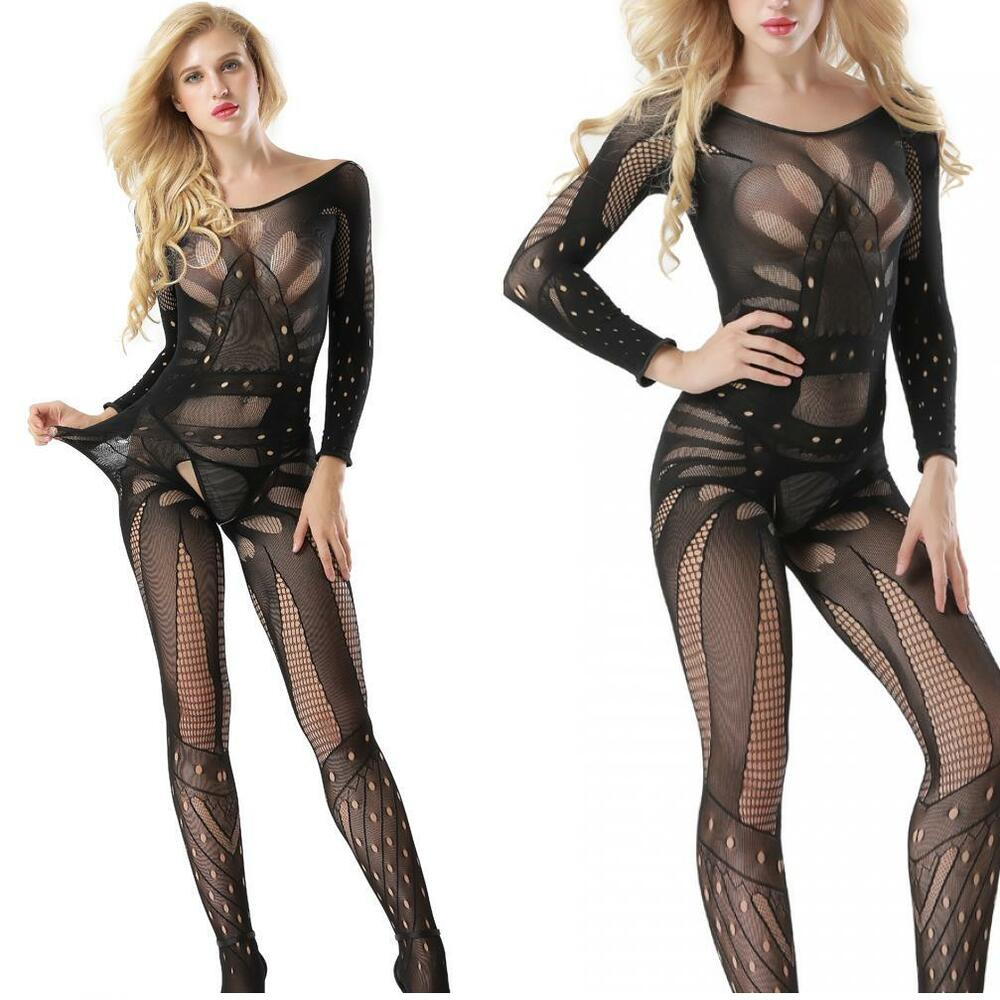 60004cabb65 Women s Clothing Long Sleeve Fishnet Deep V Front Cut Body Stocking  Crotchless Black 1613