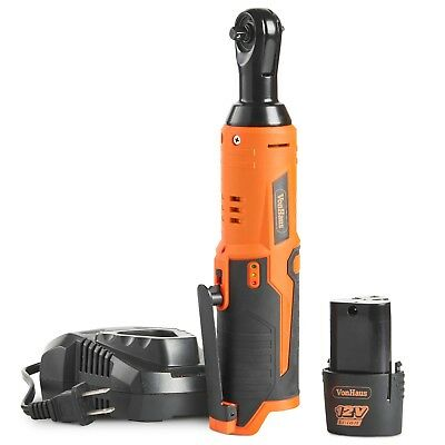 VonHaus Cordless Electric Ratchet Wrench 12V Lithium-Ion Battery Charger Kit 1/4