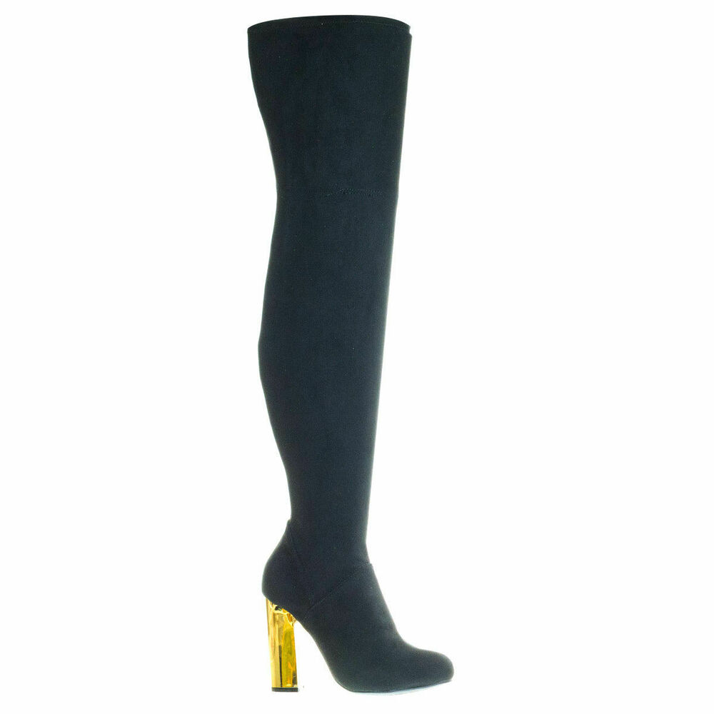 d6efc63dba9 Details about Bamboo Scenery-08 Black Metal Block Heel OTK Over-The-Knee  Thigh High Soft Boots