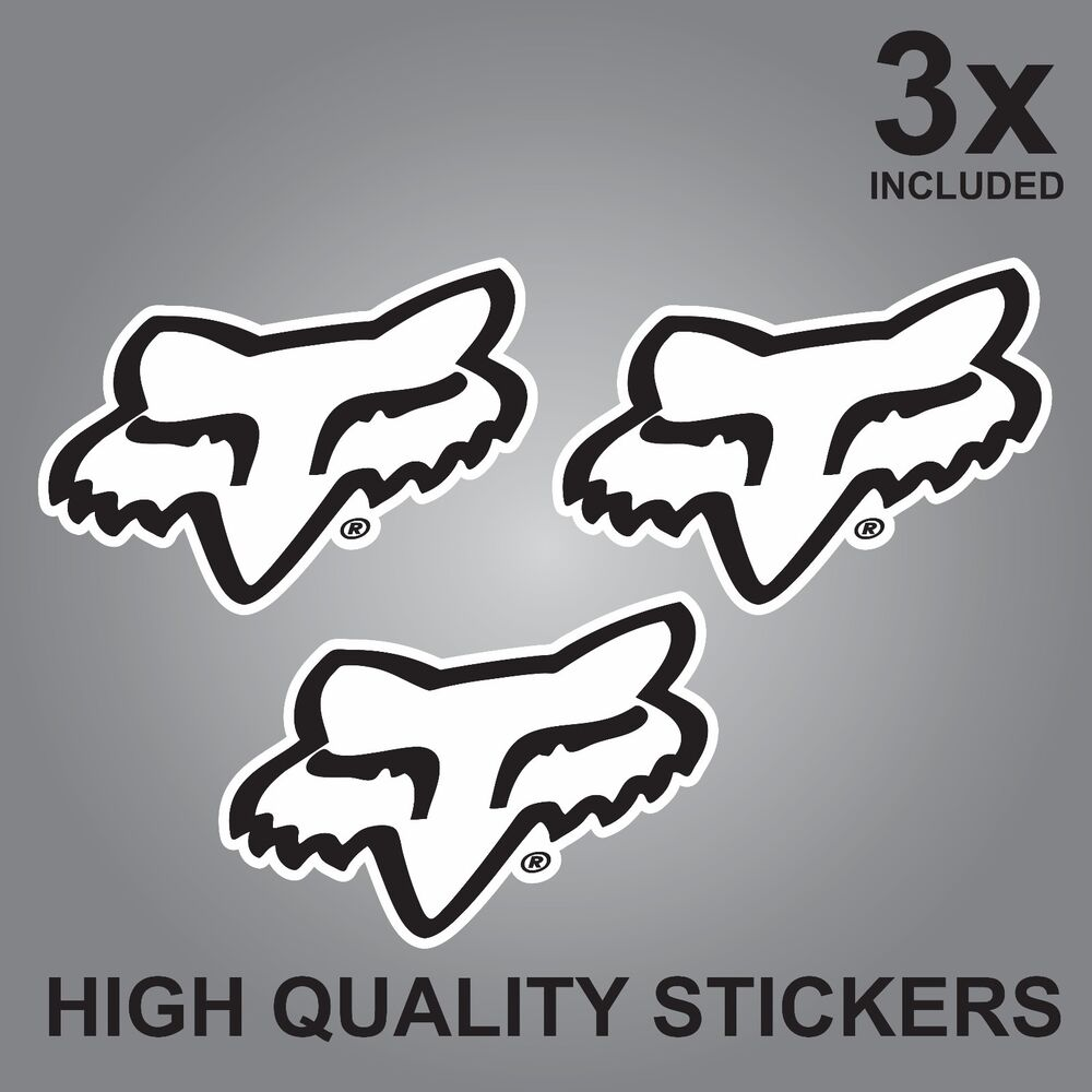 Details about 3x fox bikes accessories quality printed stickers head helmets
