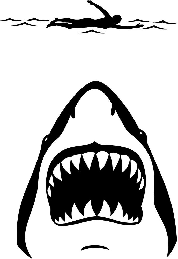 Shark Jaws And Swimmer Decal Window Bumper Sticker Car