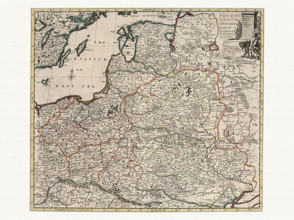 Old Vintage Antique Poland Map Senex Ca 1721 Paper Or Canvas Ebay