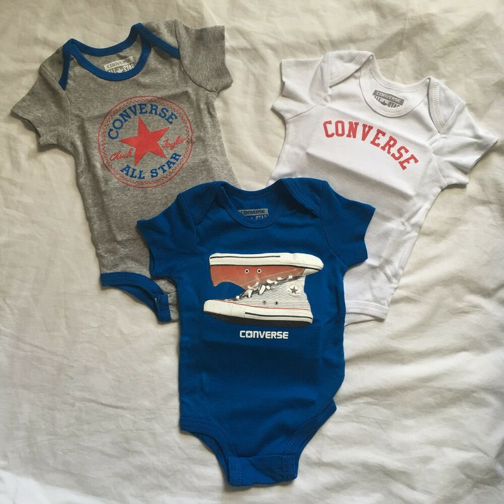Details about 3 Pack Converse Baby Bodysuits Size 0-6 Mon. Gift Chuck  Taylor Blue Gray Boys B5 596c1e67a