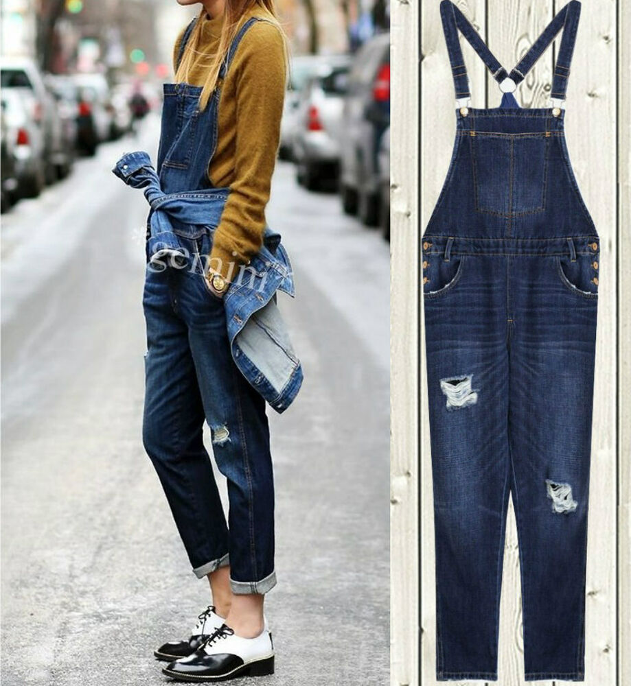 ZARA DENIM RIPPED DUNGAREES JUMPSUIT DESTROYED OVERALL LATZHOSE ...