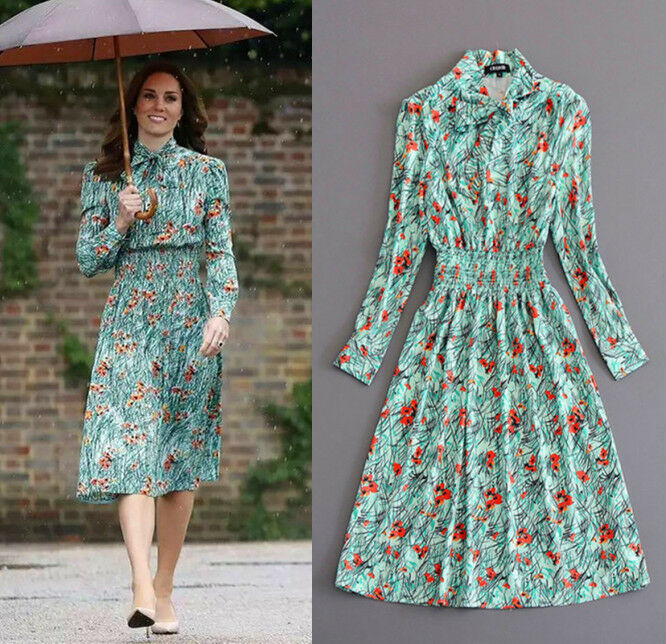 2018 Kate Middleton New Floral Print A line Long Sleeve ...
