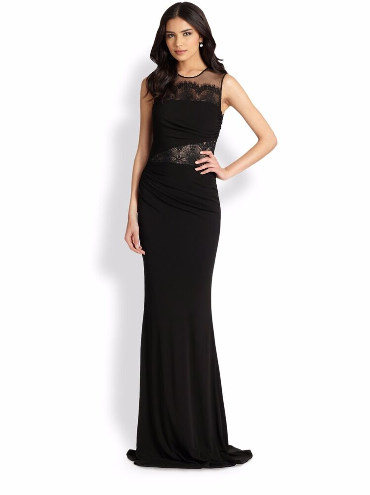 7062942653e Details about David Meister Black Nude Lace-Inset Jersey Elegant Gown Dress.  NWT Sz.14