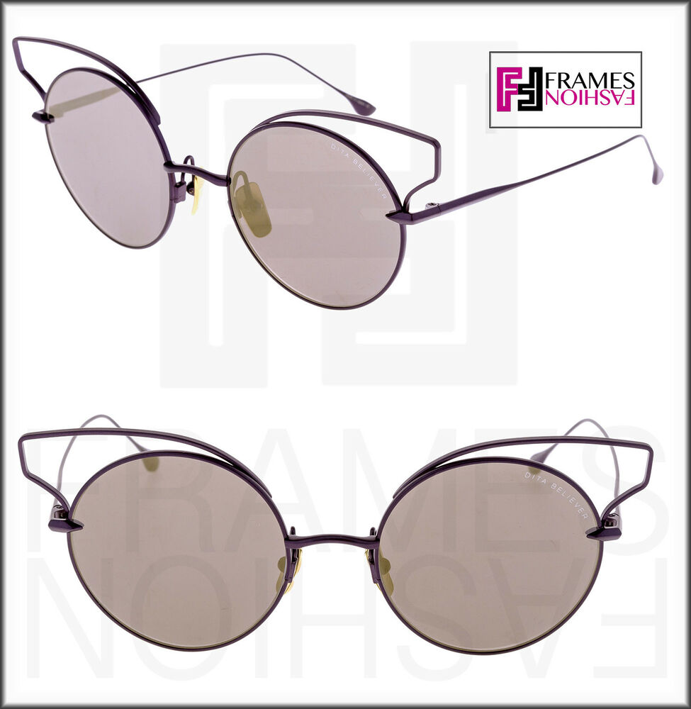 aa5072079d4 DITA BELIEVER Round Lilac Purple 18K Gold Plated Flash Mirrored 23008  Sunglasses 812271025978