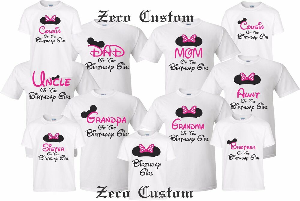 Details About Happy Birthday Girl T Shirt Mickey Disney Minnie MOM DAD Family