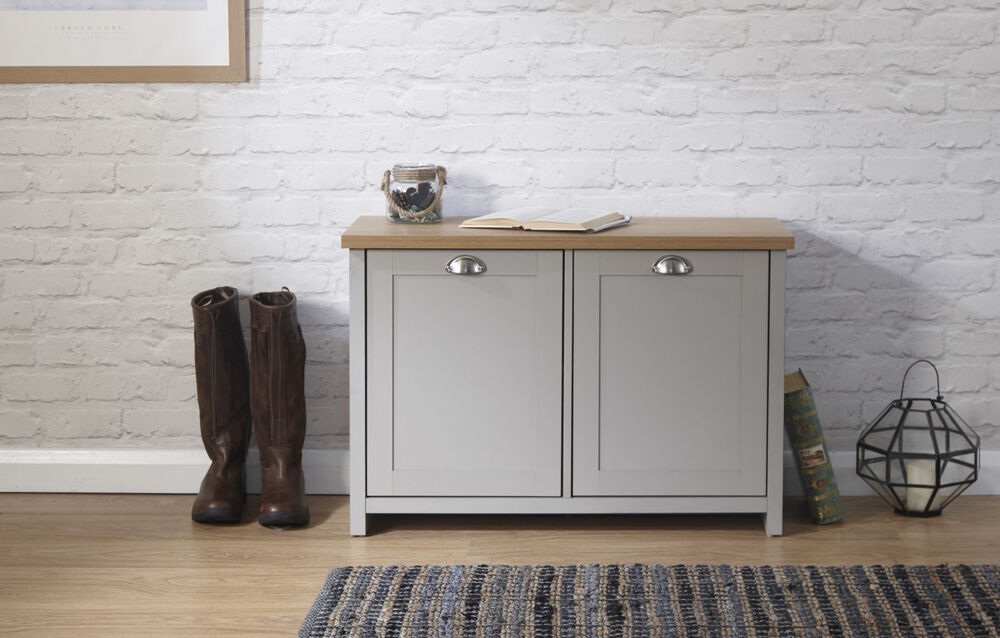 Grey Oak Shoe Storage Cabinet 2 Door Cupboard Two Tone
