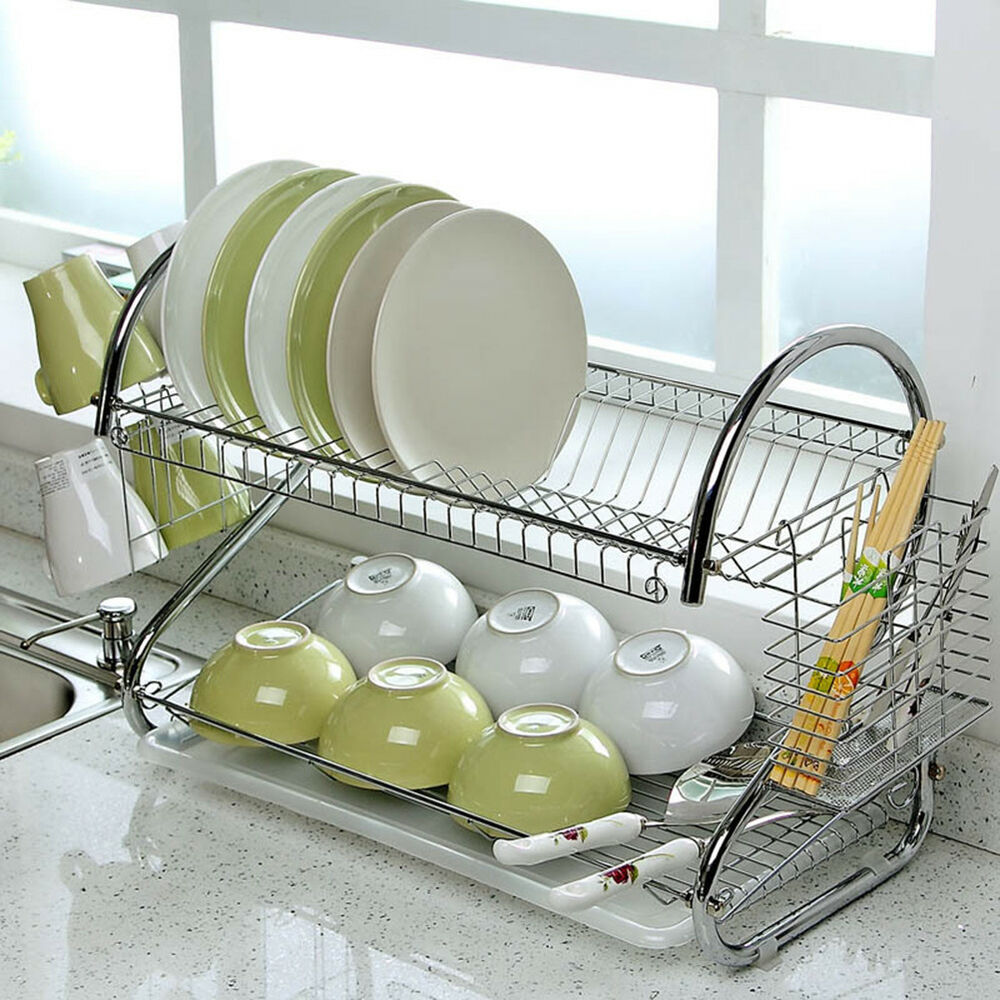 kitchen dish cup drying rack holder sink drainer 2 tier dryer stainless steel 889634895080 ebay. Black Bedroom Furniture Sets. Home Design Ideas