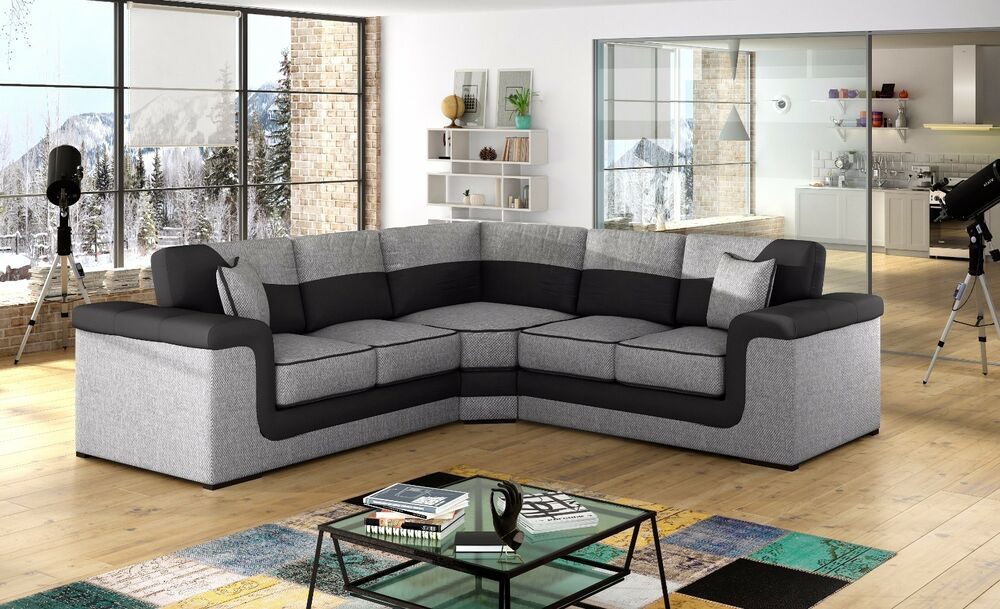huge sale new large symphony leather fabric corner sofa. Black Bedroom Furniture Sets. Home Design Ideas