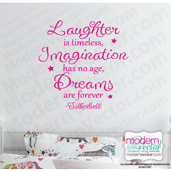 TINKERBELL Vinyl Wall Quote Decal Laughter Dreams Imagination Peter Pan