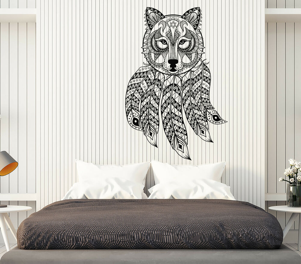 Details About Vinyl Decal Wall Sticker Dreamcatcher Wolf Ethnic Ornament Bedroom Decor N980