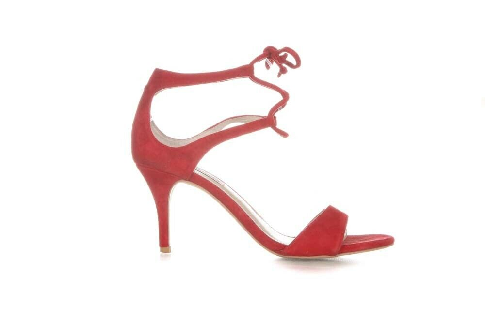 9ae8007f915a9 Details about STEVE MADDEN LACE UP OPEN TOE HEELS SIZE 8.5 SALSAA RED SUEDE  STILETTO SANDALS