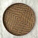 Vintage Bohemian Woven Wicker Drying Round Wall Tobacco Basket Art Farmhouse