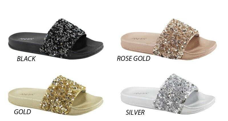 855ba137b Details about New Glitter Rhinestone Open Toe Slide Slip On Flat Sandal  Flip Flop Slipper Shoe