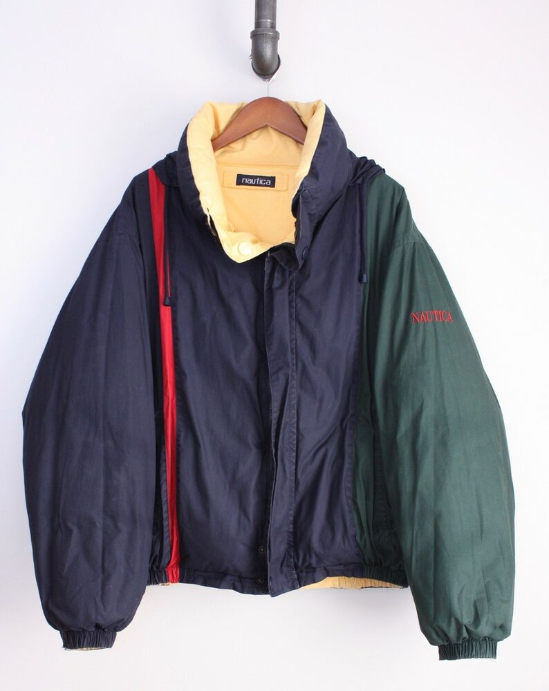c7505ed955 Details about Nautica Reversible Color Block Puffer Coat XL Green Blue Red  Yellow Down Filled