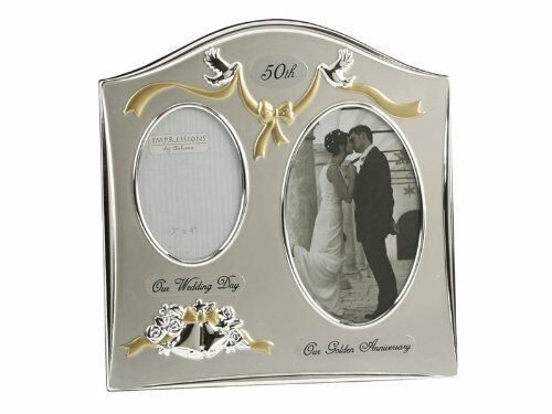 2 Wedding Anniversary Gifts: Two Tone Silverplated Wedding Anniversary Gift Photo Frame