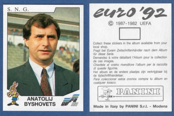 Panini EURO 92 N 168 S.N.G BYSHOVETS NEW WITH BLACK BACK TOP MINT!!