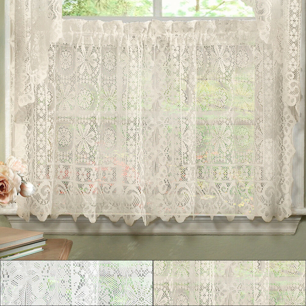 Hopewell Heavy Floral Lace Kitchen Window Curtain 24 X 58
