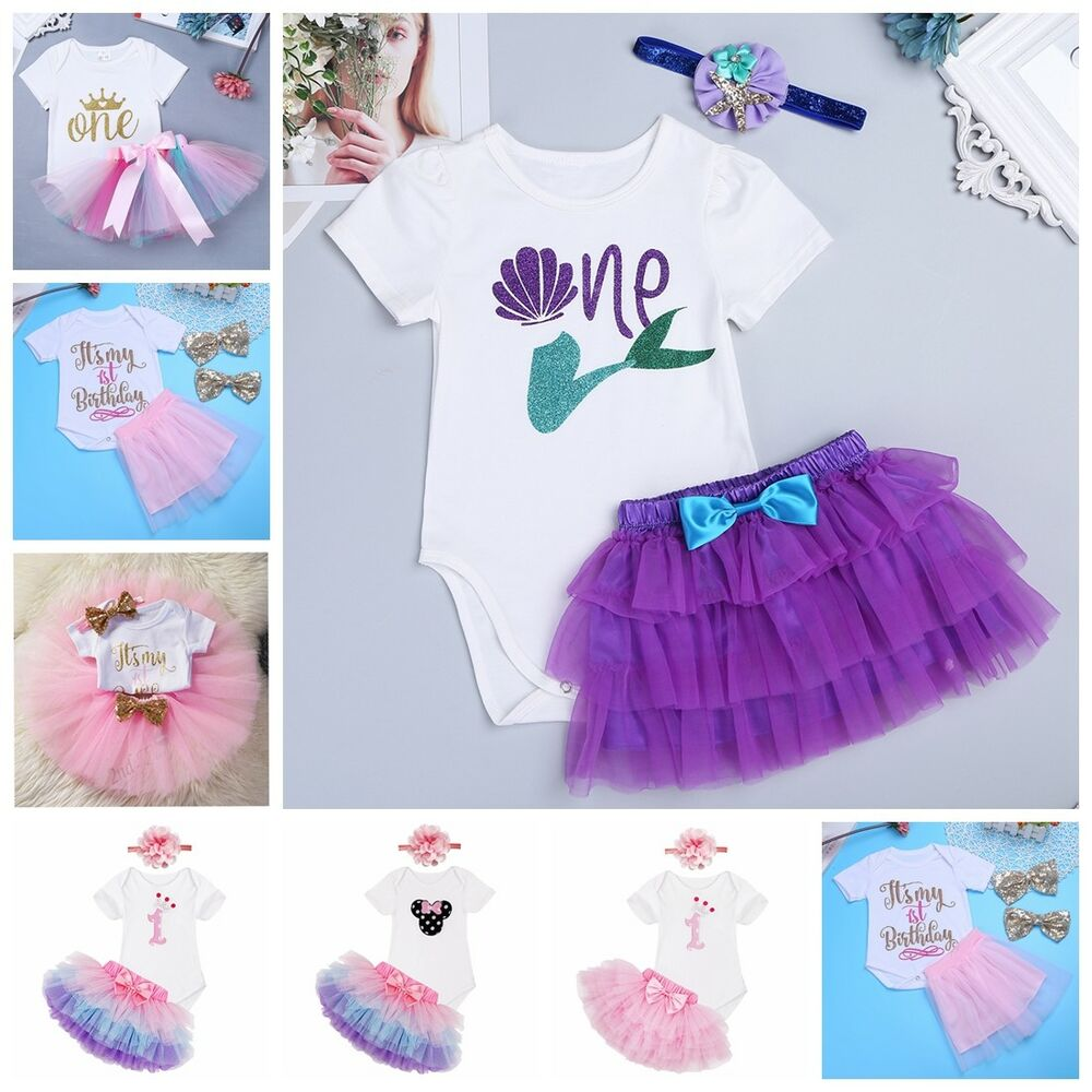 c327dabe45a2 Details about Baby Girls Infant Headband Romper Princess Tutu Skirt Dress  1st Birthday Outfits