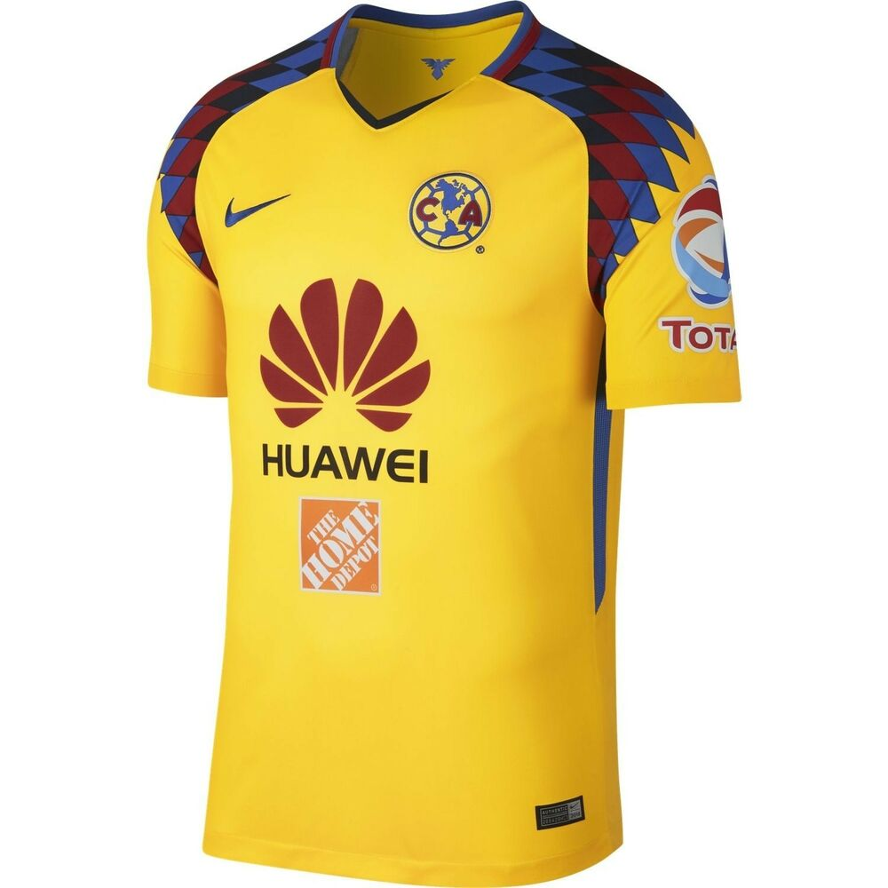 6c3339724 Details about Nike Club America DF 2017 - 2018 Third Soccer Jersey New  Yellow   Navy  Multi
