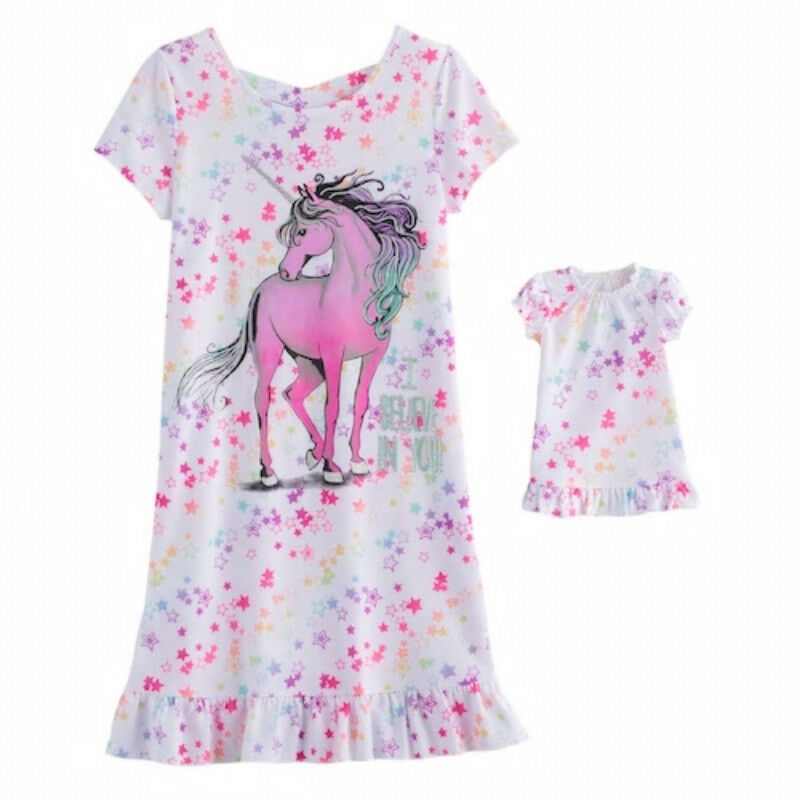 0881064b52 Details about Girl 5-12 and Doll Matching Unicorn Nightgown Clothes ft  American Girl Dollie Me