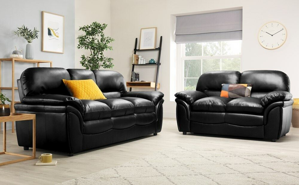 Rochester Black Leather Sofa Sofas Group Settee Unit Range