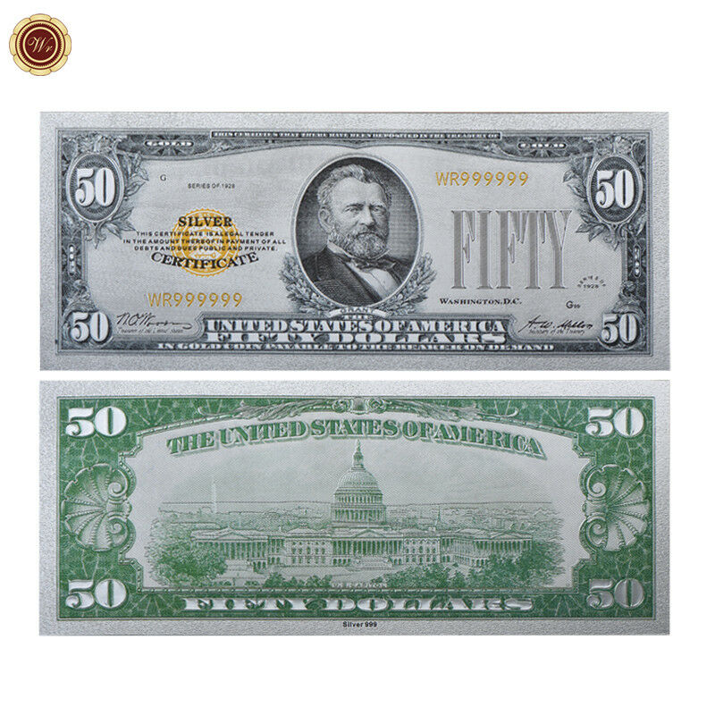 Wr 1928 Silver Certificate Us 50 Fifty Dollar Colored Silver Foil