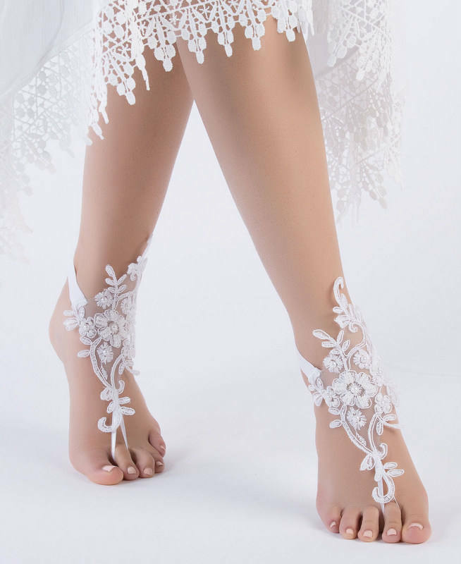 Lace beach wedding foot chain white barefoot sandals anklet wedding lace beach wedding foot chain white barefoot sandals anklet wedding shoes junglespirit Gallery