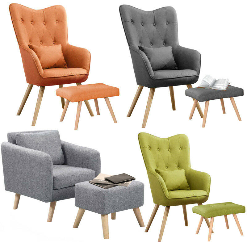 Accent Fabric Bedroom Chair Wing Back Armchair And Footstool ...