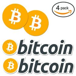 4-PACK Bitcoin Logo Die-Cut Vinyl Stickers - Best Quality Decals, FREE Shipping!