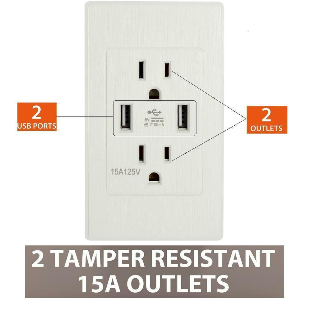 Wall Socket 2 USB Port Outlet Charger AC/DC Power Adapter US Plug US ...