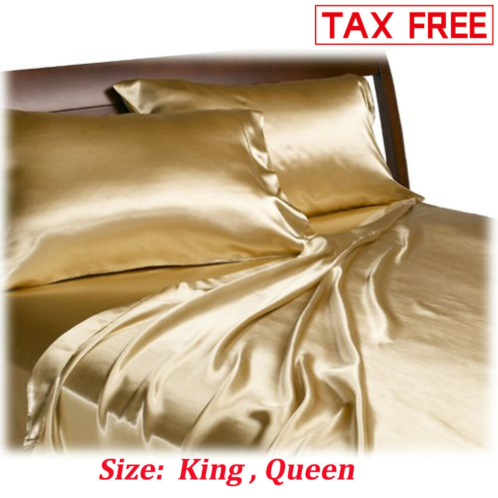 Details About Satin Charmeuse Sheet Set Queen King Soft Silk Feel Bedding 4 Pcs Luxury Gold