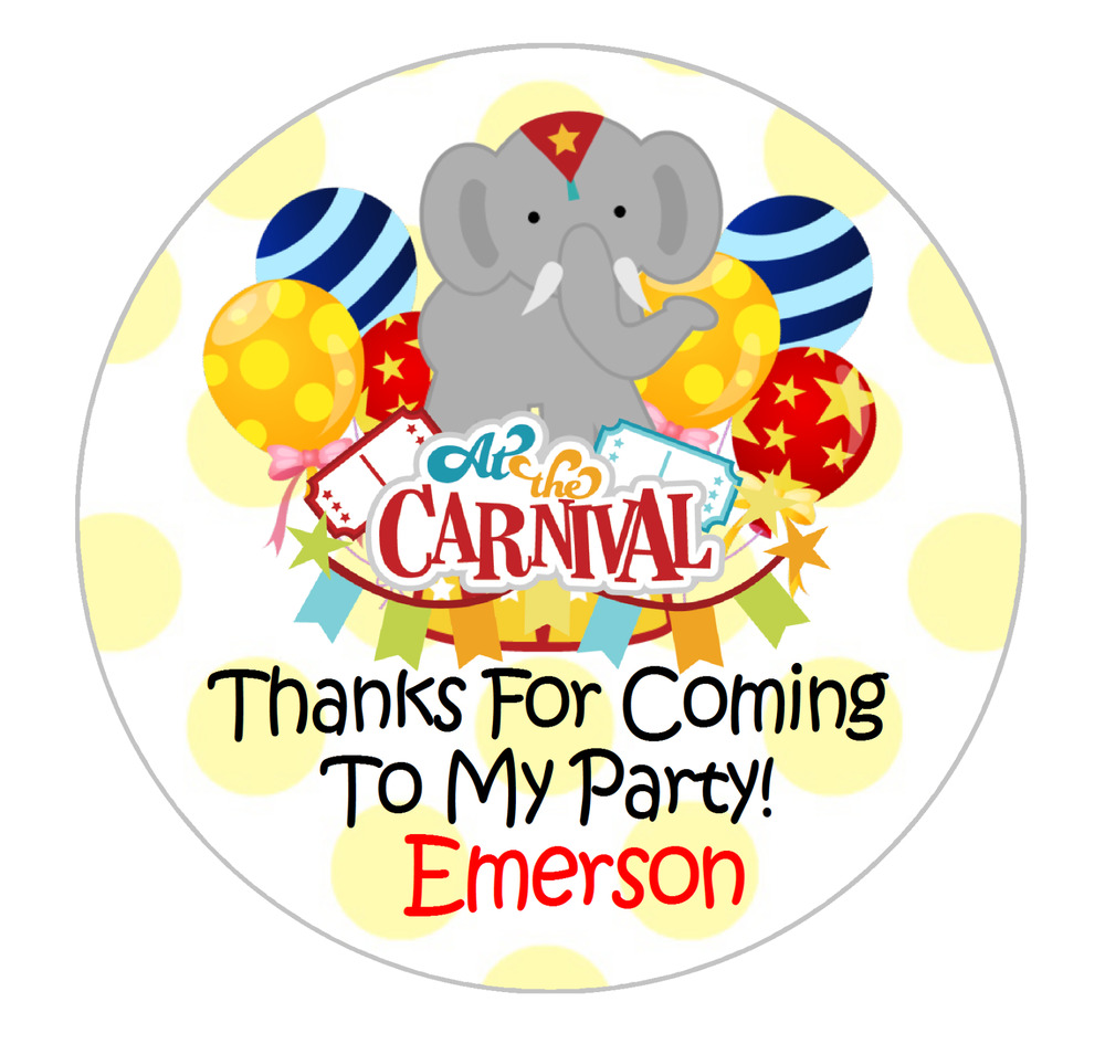 Details about carnival custom birthday personalized round party stickers favors various sizes