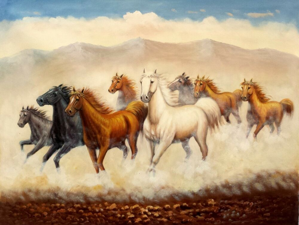 Wild Horses Running #4, 36x48,100% Hand Painted Oil ...
