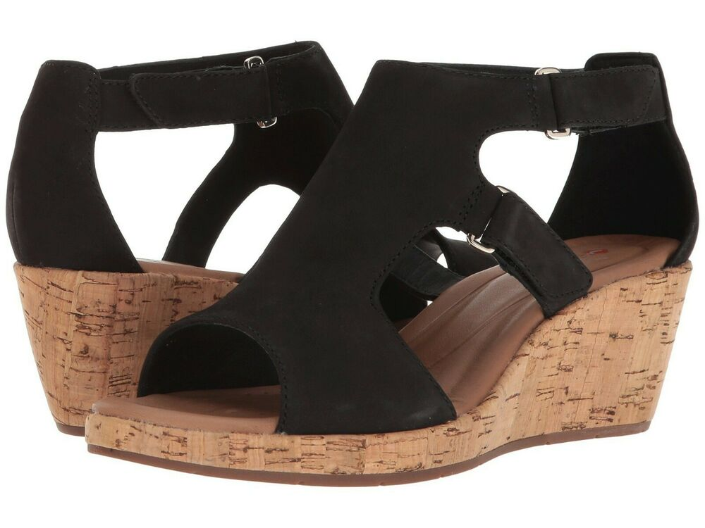 59a01e13b727 Details about Women s Shoes Clarks Un Plaza Strap Caged Open Toe Wedge  32320 Black  New