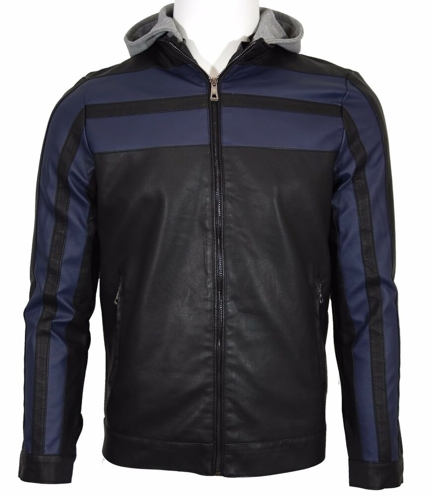 blouson veste cuir homme motard bikers scrambler bleu ebay. Black Bedroom Furniture Sets. Home Design Ideas