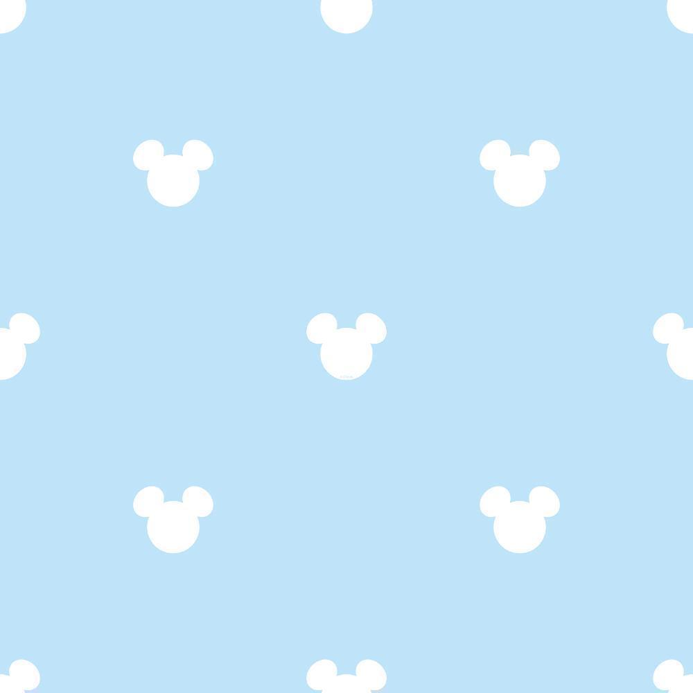 Blue White Disney Mickey Mouse Nursery Childrens Feature Wallpaper