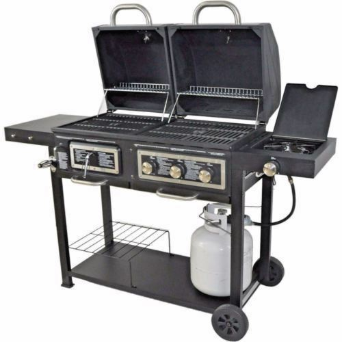 Details About Bbq Gas And Charcoal Grill Dual Fuel Combination Portable Barbecue Outdoor Cook