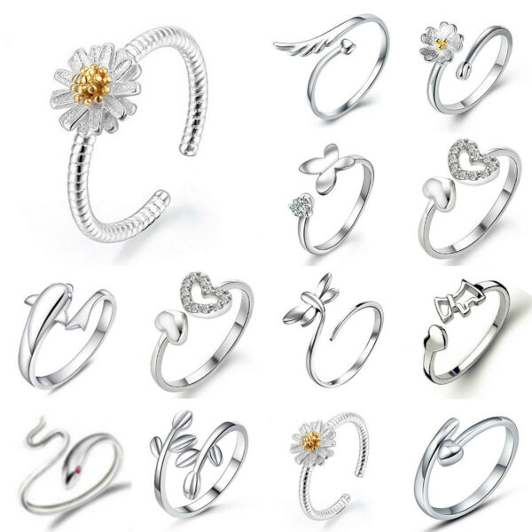 Fashion Women 925 Silver Plated Crystal Jewelry Heart Adjustable Ring Gift