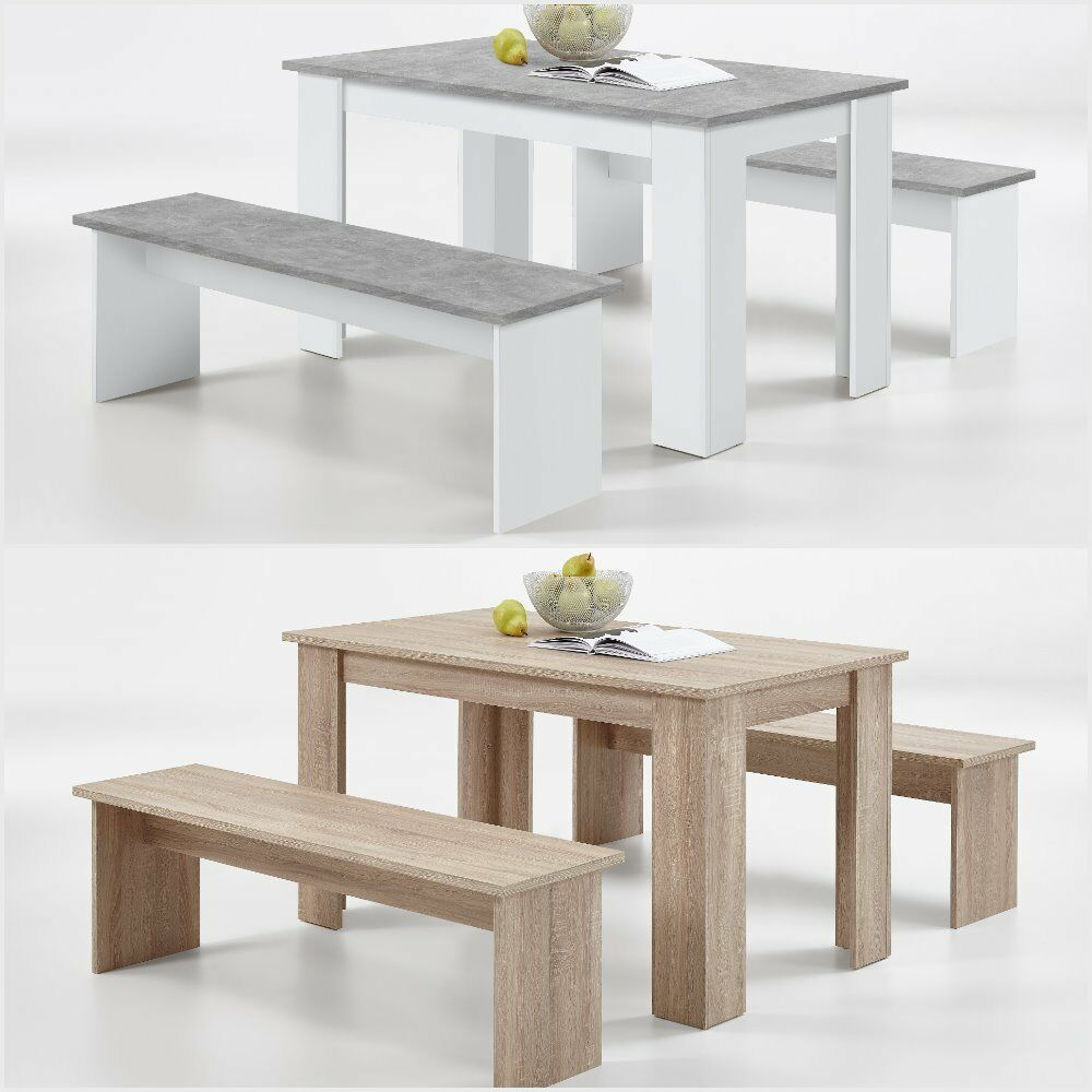 White Dining Table Bench: German SlumberHaus Dorma Dining Table And 2 Bench Set Oak
