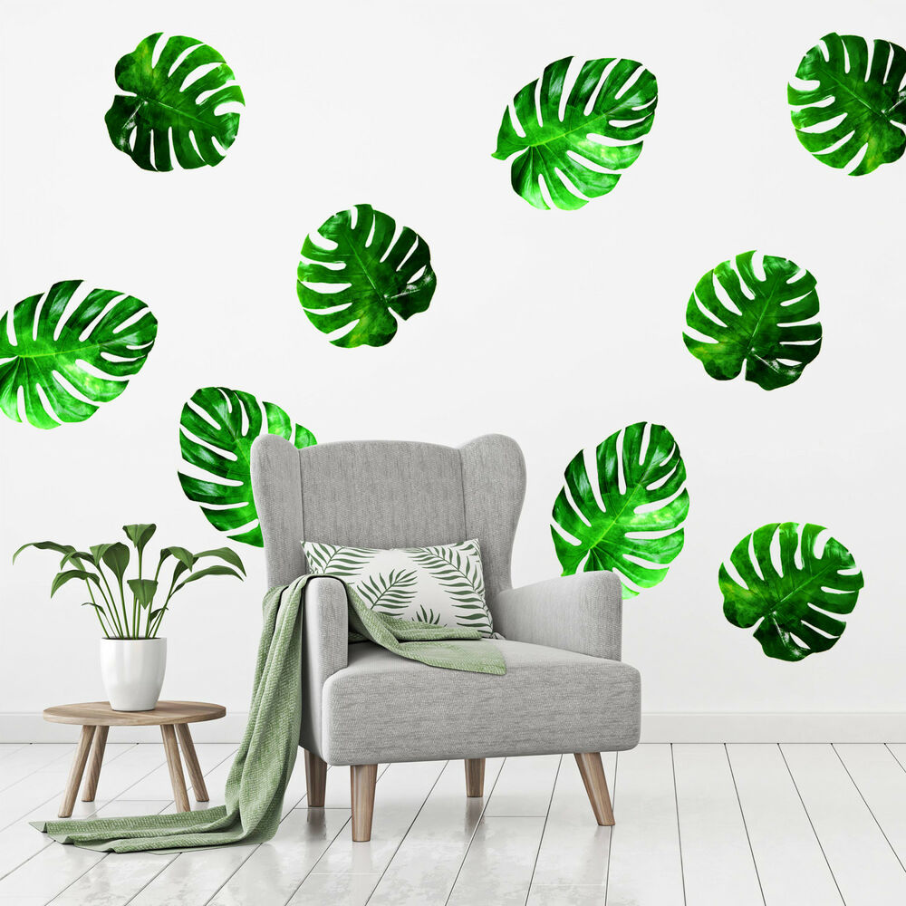 Details about tropical leaves wall stickers tropical leaf wallpaper print mural art palm set