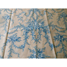 Antique 19thc 1800's French Roses Floral Garland Cotton Fabric ~ Blue Soft Gray