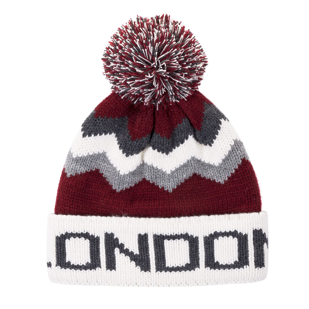 Details about British Big City London Red Grey Bobble Beanie Winter Warm Hat 5bbbfd65e92