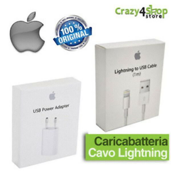 Caricabatteria Originale A1400+Cavo Dati iPhone 5 5S 6 6S 7 8 Plus X Scatolato