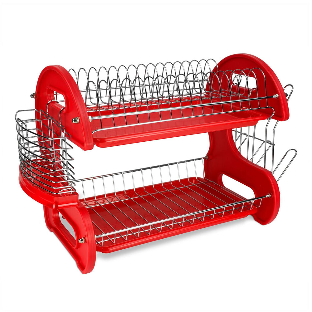 home basics 2 tier red kitchen sink dish drainer drying rack 670221012405 ebay. Black Bedroom Furniture Sets. Home Design Ideas